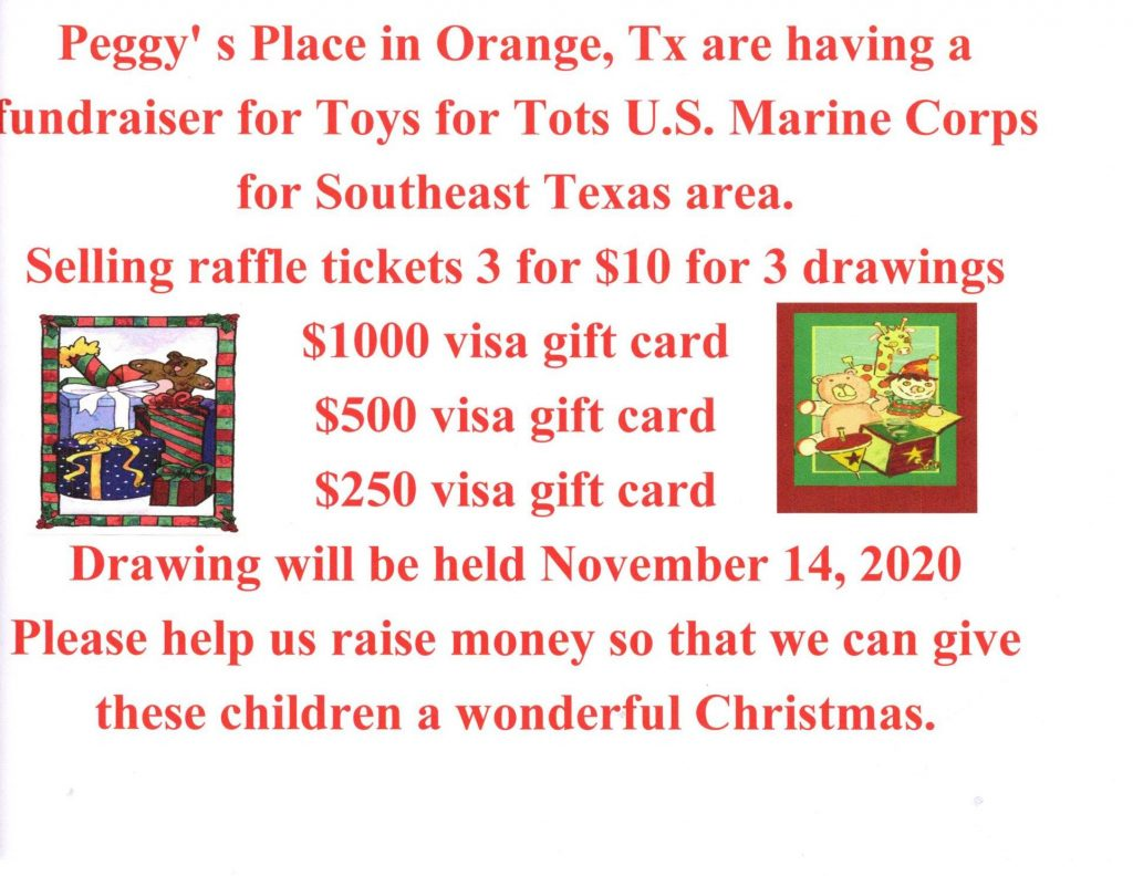 Peggy's on the Bayou Hosting Fundraiser for Toys for Tots