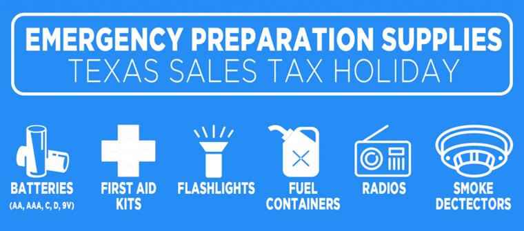 Emergency Prep Supplies Tax Holiday April 24-26